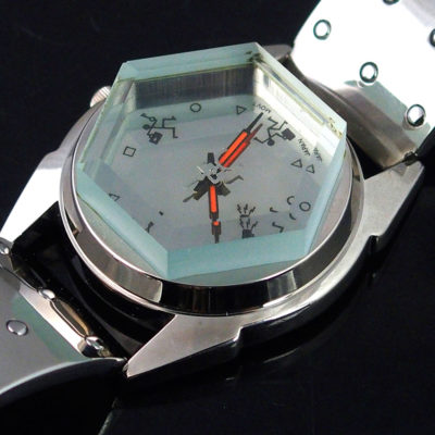 women's wristwatch unusual hexagonal crystal glass gift for her Hi Tek