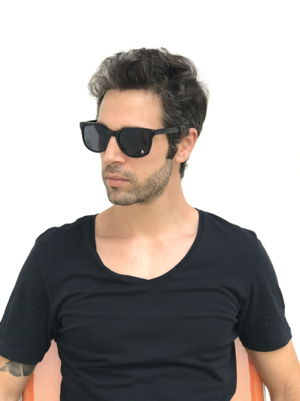 black retro sunglasses