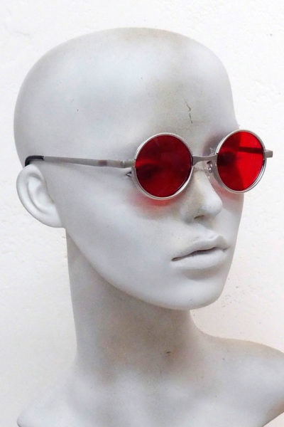 round silver sunglasses red lens