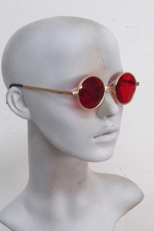 gold sunglasses red lens