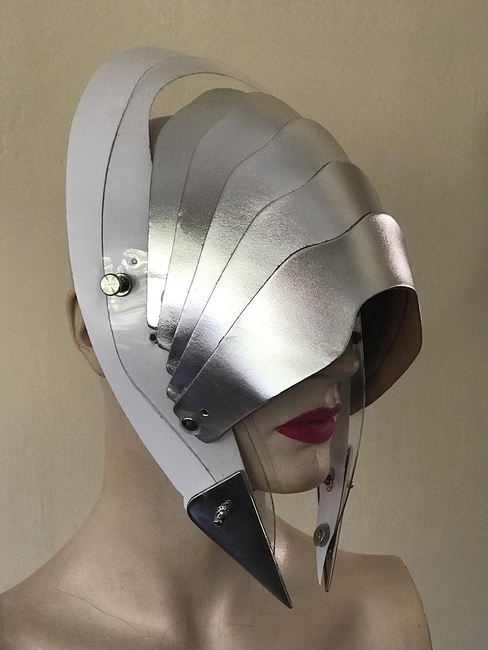 Unusual Head Wear mask hat alien helmet silver metallic leather