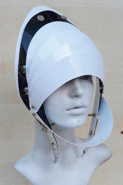 Unusual Head Wear futuristic, mask hat headpiece helmet modern Steampunk wearable art white black trim