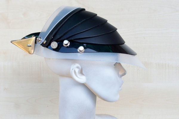 Unusual Head Wear futuristic, mask hat headpiece helmet modern Steampunk wearable art black white trim