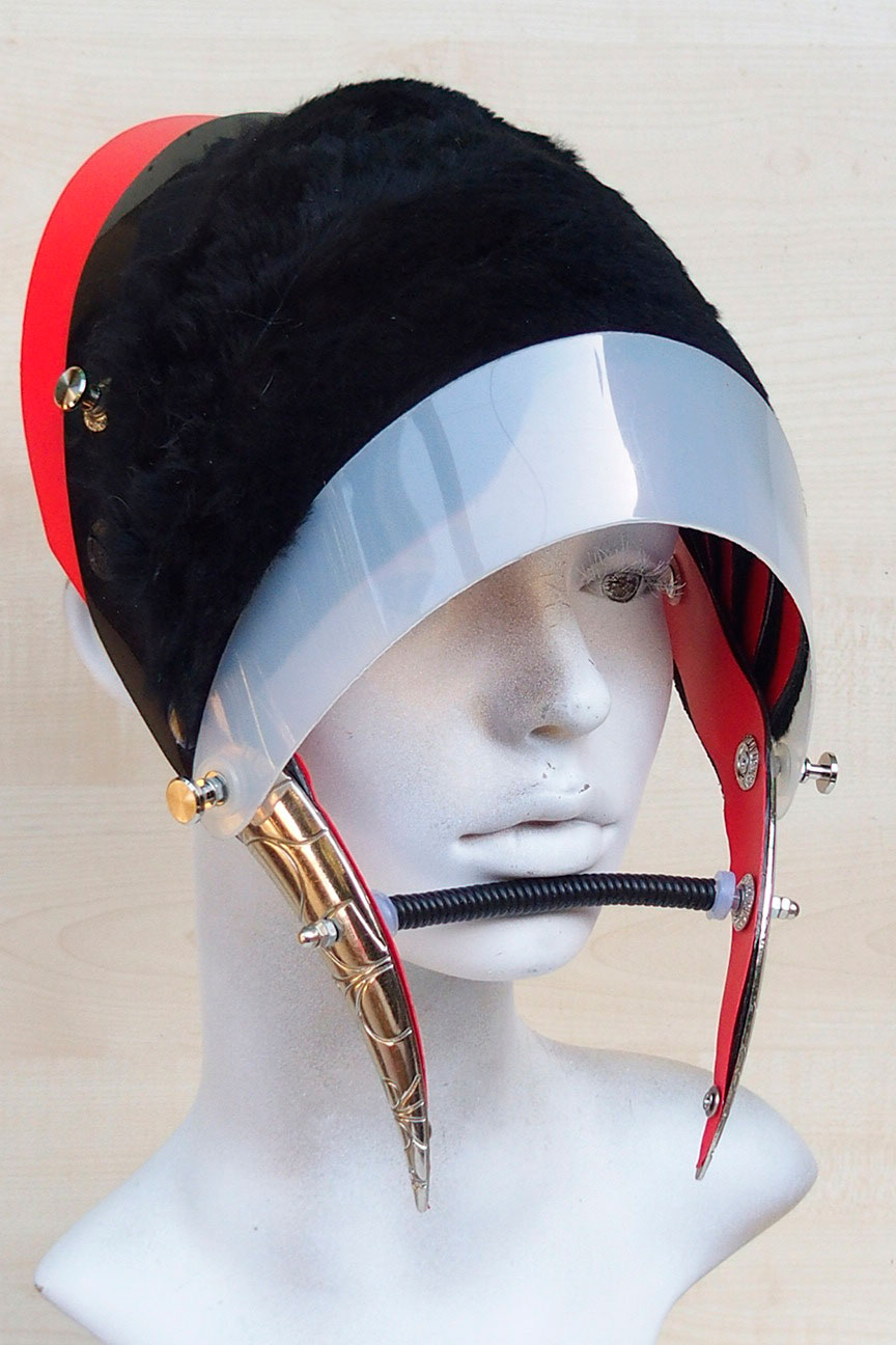 Unusual Head Wear futuristic, mask hat headpiece helmet modern Steampunk wearable art red fur
