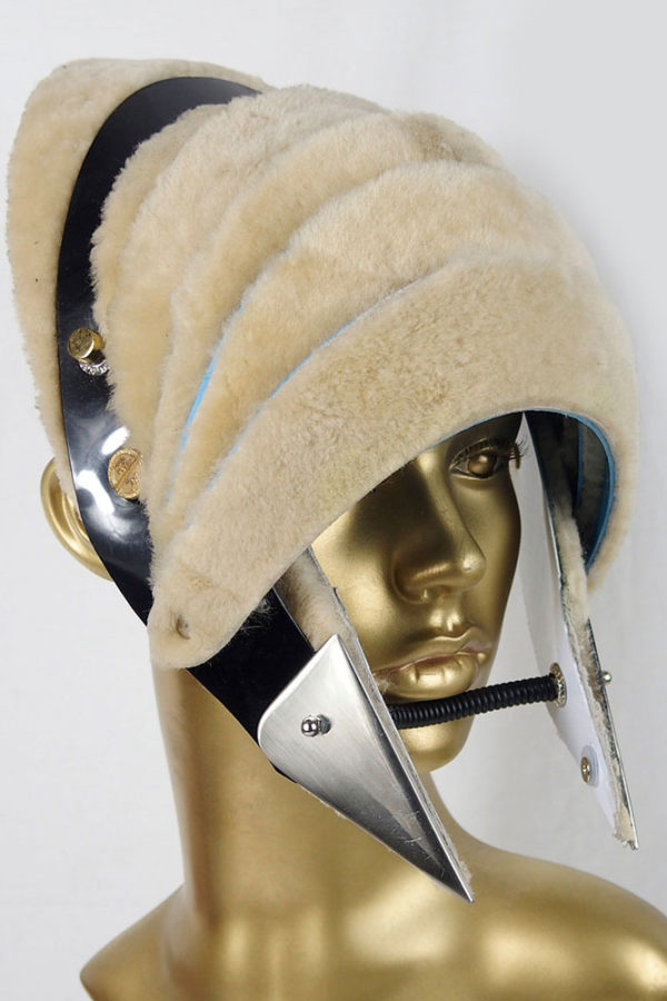 Unusual Head Wear futuristic, mask hat headpiece helmet modern Steampunk wearable art beige fur