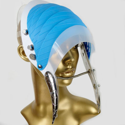 Unusual Head Wear futuristic, mask hat headpiece helmet modern Steampunk wearable art blue plastic