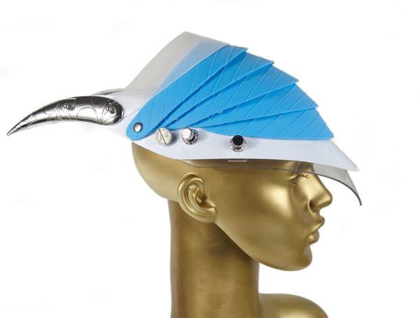 Unusual Head Wear futuristic, mask hat headpiece helmet modern Steampunk wearable art blue plastic