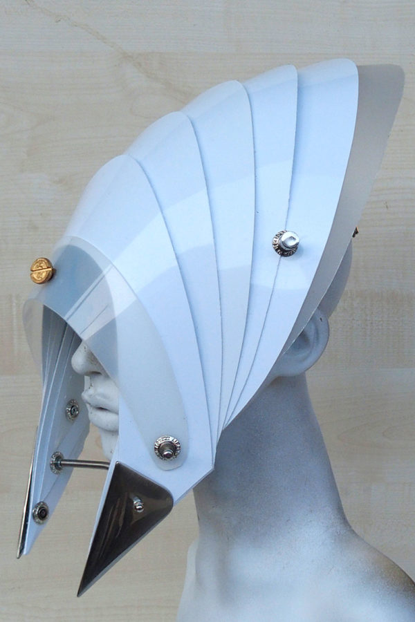 futuristic head wear in entertainment article, wearable art, all white2