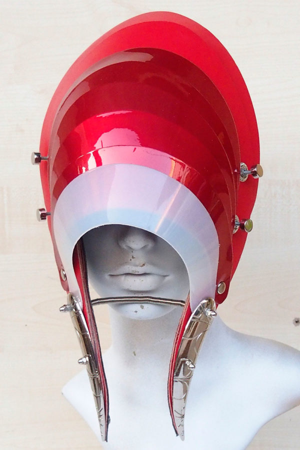 Unusual Head Wear futuristic, mask hat headpiece helmet modern Steampunk wearable art red white