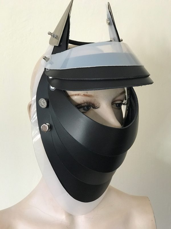 Unusual Head Wear futuristic, mask hat headpiece helmet modern Steampunk wearable art black white trim