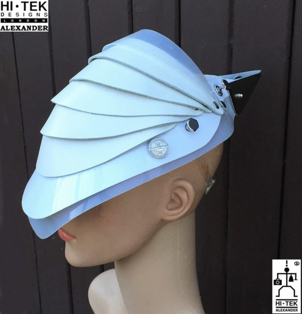 futuristic head wear in entertainment article, wearable art, all white1