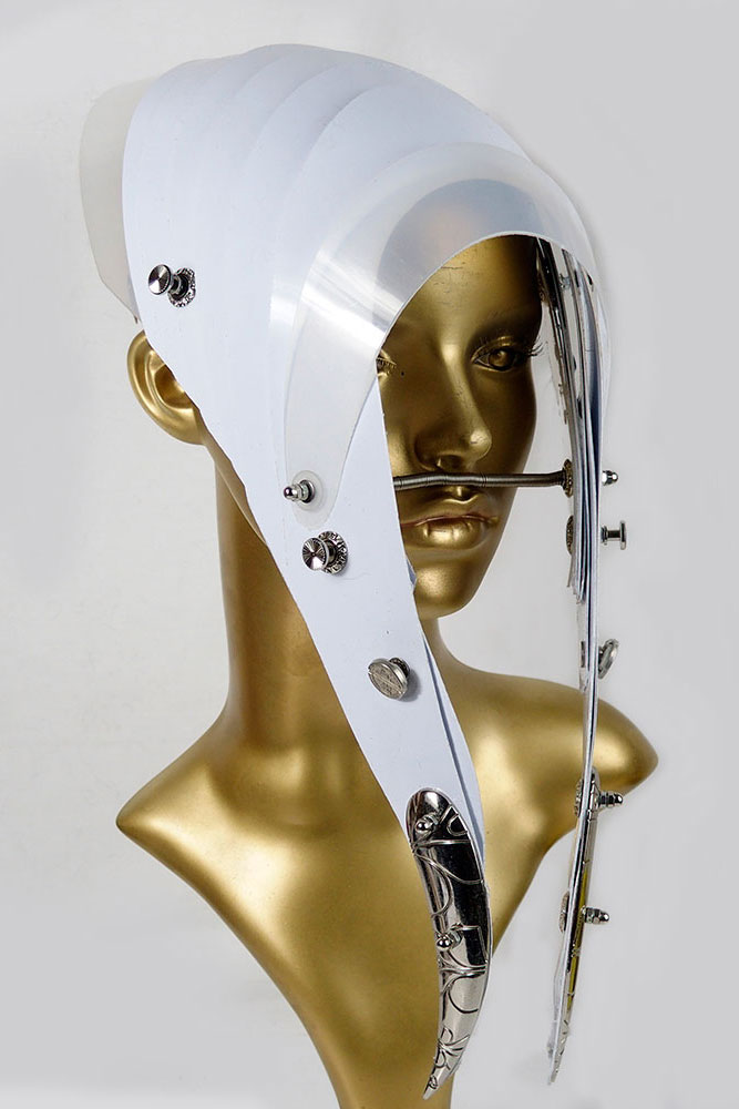 futuristic head wear in entertainment article, wearable art, all white3