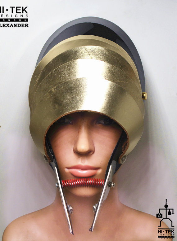 Unusual Head Wear mask hat alien helmet gold metallic leather