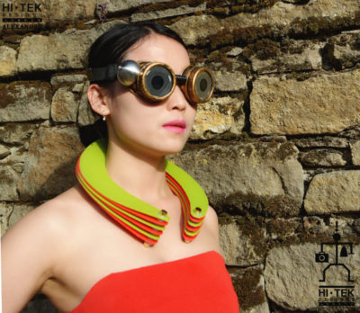 statement necklace choker made of neon colour PVC plastic, heavy chunky