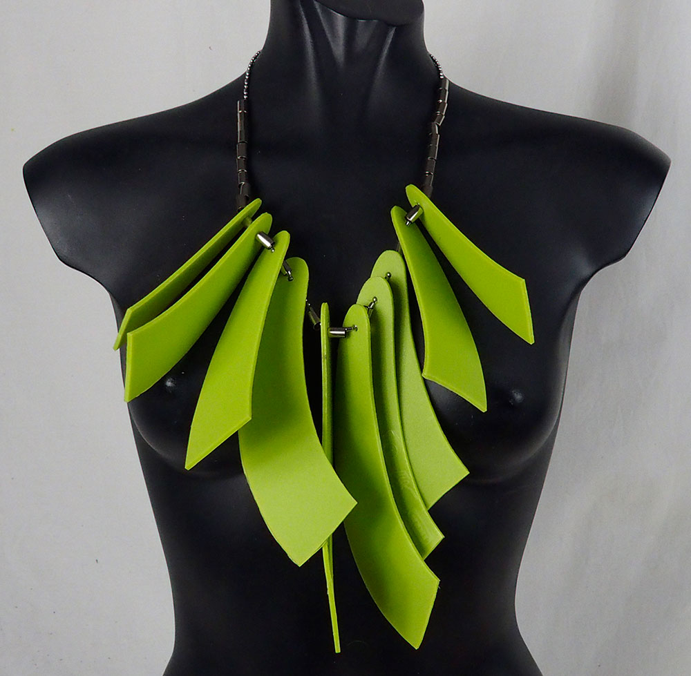 statement necklace choker made of neon green PVC plastic, unusual
