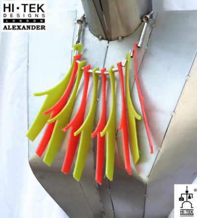 statement necklace choker made of neon colour PVC plastic, unusual