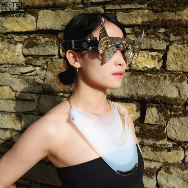 statement necklace choker made of white PVC plastic, unusual