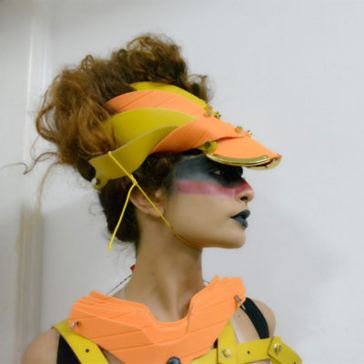 futuristic head wear, visor, unusual, Cosplay, costume hat orange yellow