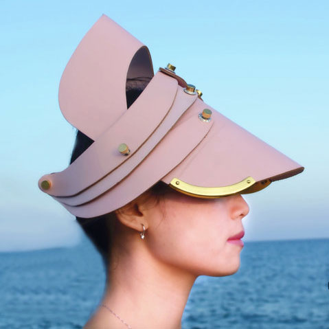 hat, head wear, head piece, unusual party cosplay costume hat, entertainment article pink leather