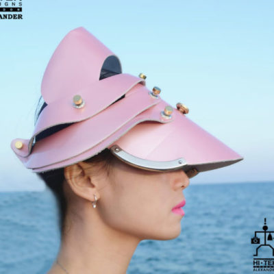 hat, head wear, head piece, unusual party cosplay costume hat, entertainment article pink shiny leather