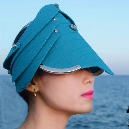 hat, head wear, head piece, unusual party cosplay costume hat, entertainment article teal blue plastic