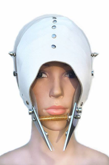 futuristic head wear in entertainment article, wearable art, white leather