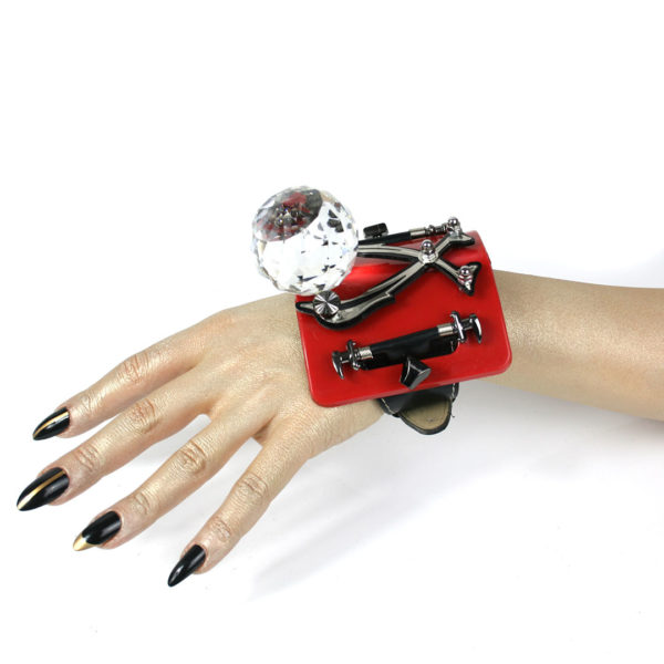 Red base huge crystal ball, Bracelet cuff, statement jewellery, handmade, one of a kind, unusual unique