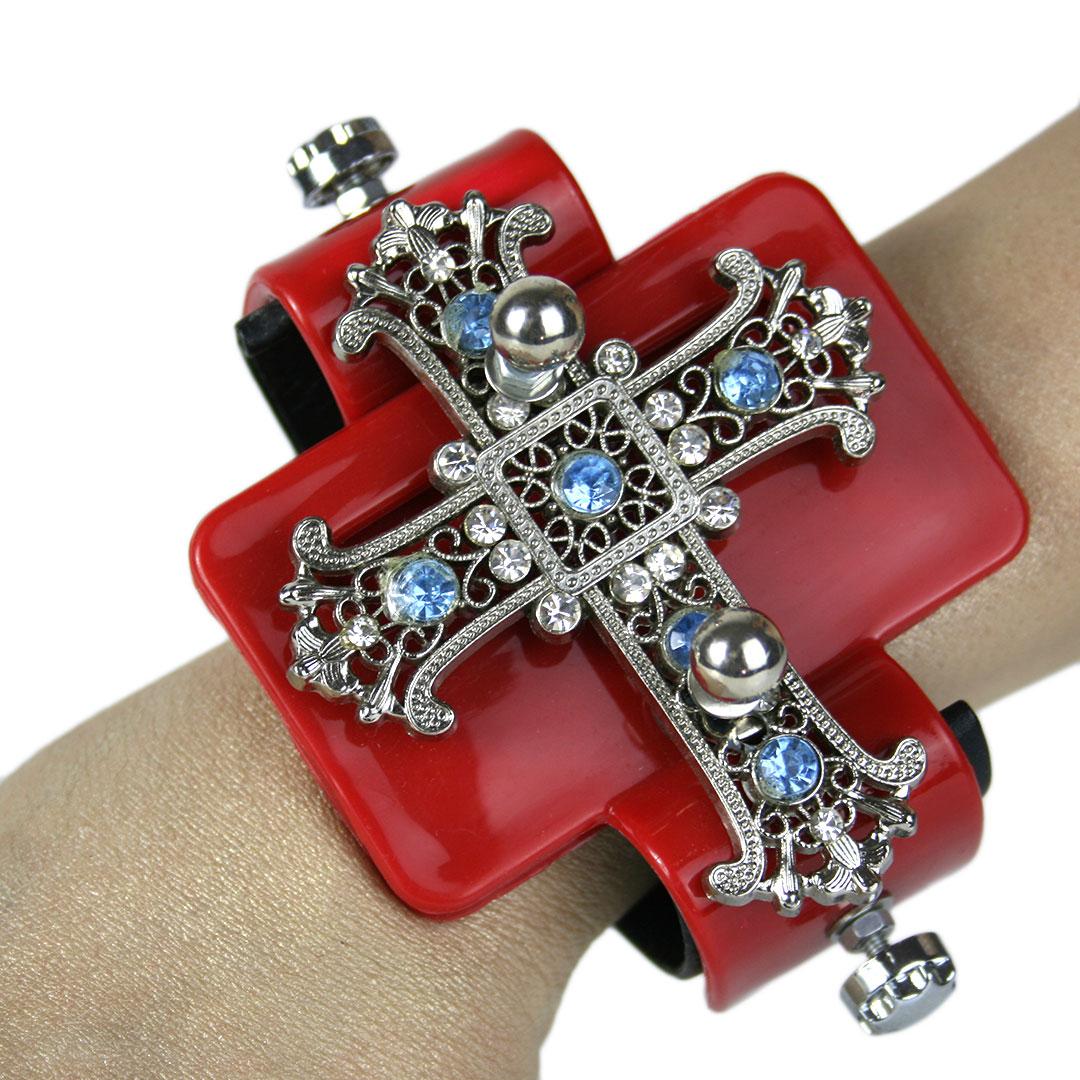 Red base huge filigree cross, Bracelet cuff, statement Goth jewellery, handmade, one of a kind, unusual unique