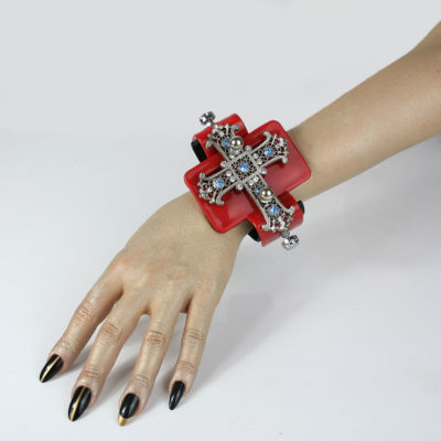 Red base huge filigree cross, Bracelet cuff, statement Goth jewellery, handmade, one of a kind, unusual unique