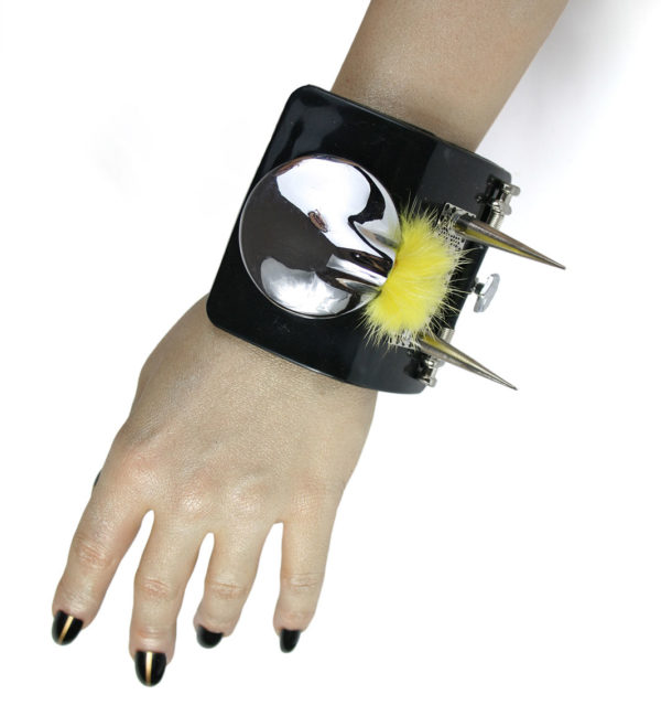 Bracelet cuff with spikes and fur, statement jewellery, handmade, one of a kind, unusual unique black