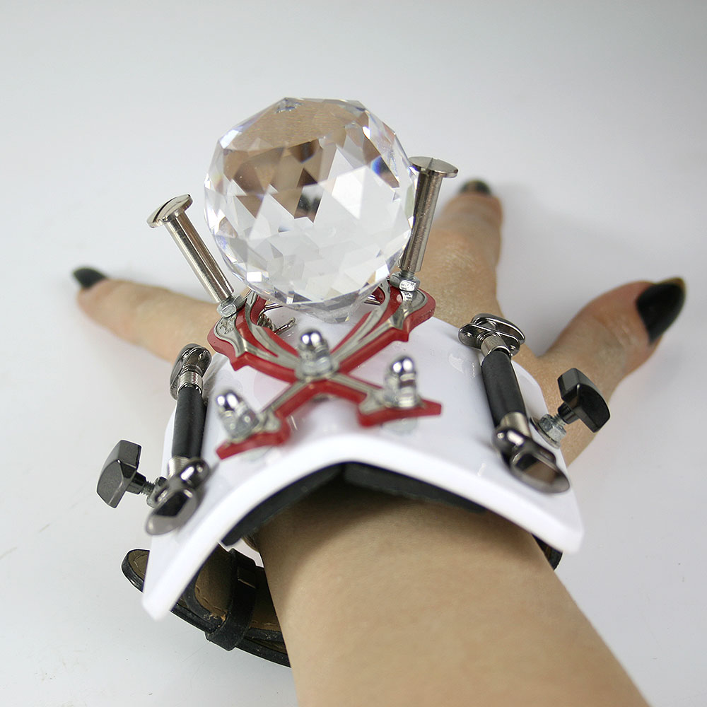 White base huge crystal ball, Bracelet cuff, statement jewellery, handmade, one of a kind, unusual unique