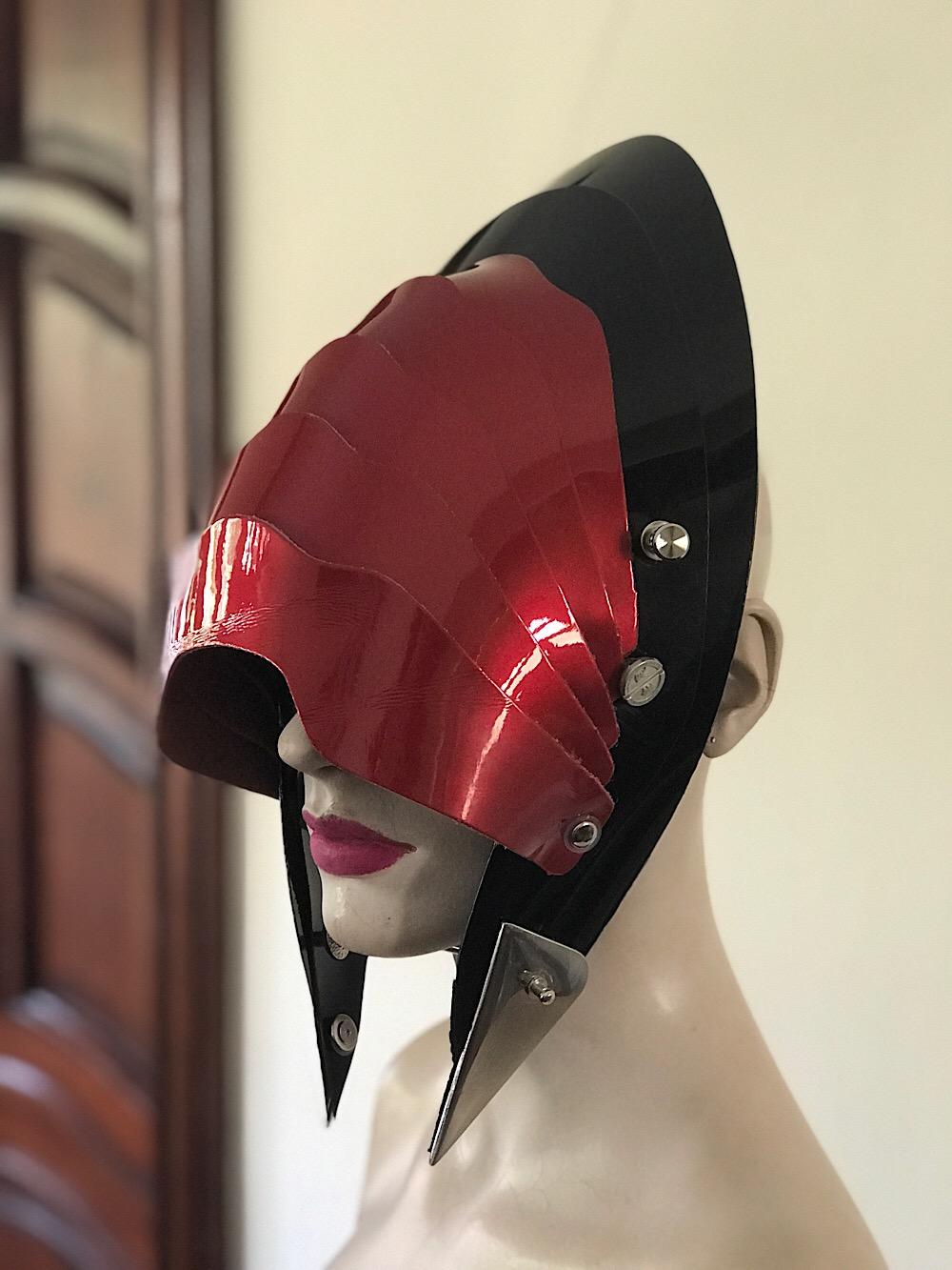 Unusual Head Wear futuristic, mask hat headpiece helmet modern Steampunk wearable art red black
