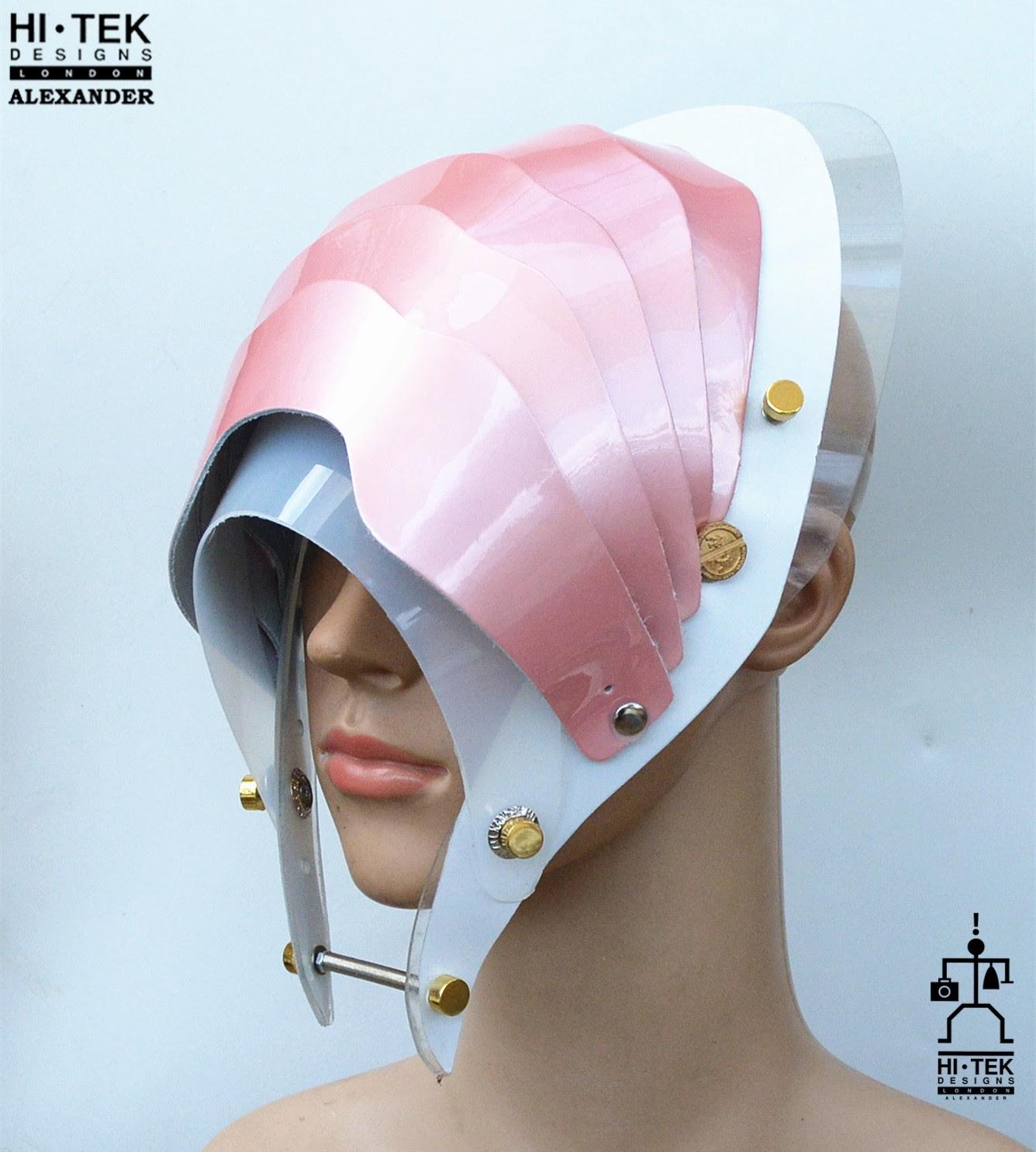 Hi Tek Alexander handmade modern futuristic, sci fi ,gothic ,steampunk unusual party eyewear alien cosplay mask hat headpiece helmet pink wide