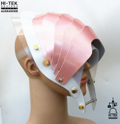 Hi Tek Alexander handmade modern futuristic, sci fi ,gothic ,steampunk unusual party eyewear alien cosplay mask hat headpiece helmet pink wide