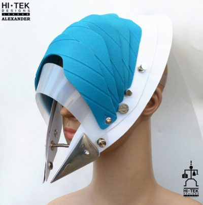 Hi Tek Alexander handmade modern futuristic, sci fi ,gothic ,steampunk unusual party eyewear alien plastic mask hat