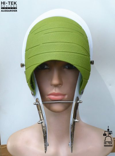 Unusual Head Wear futuristic, mask hat headpiece helmet modern Steampunk wearable art green