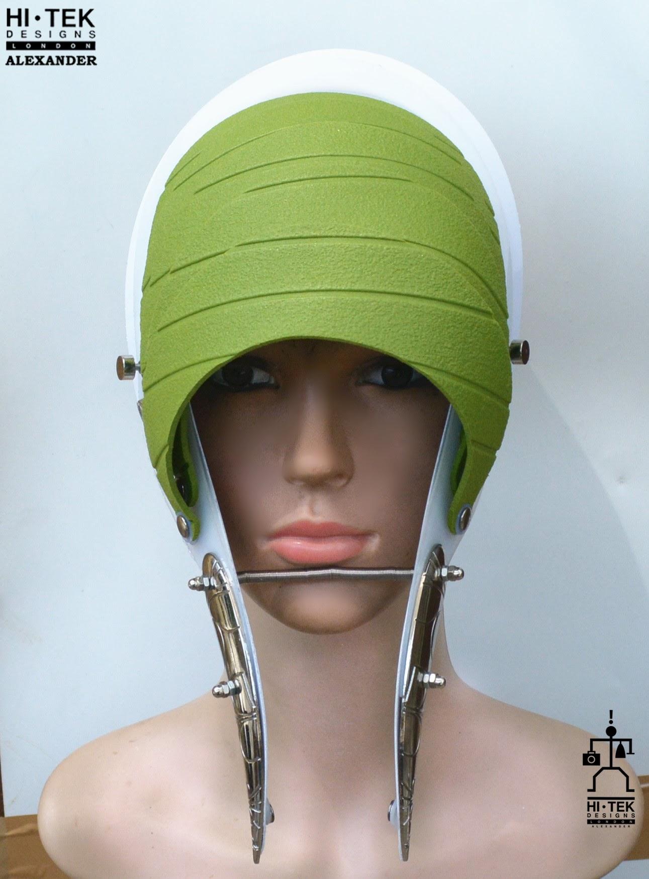 Unusual Head Wear futuristic, mask hat headpiece helmet modern Steampunk wearable art green