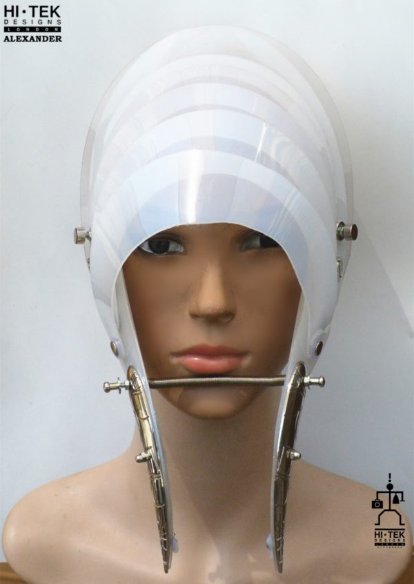 Unusual Head Wear futuristic, mask hat headpiece helmet modern Steampunk wearable art white semi opaque