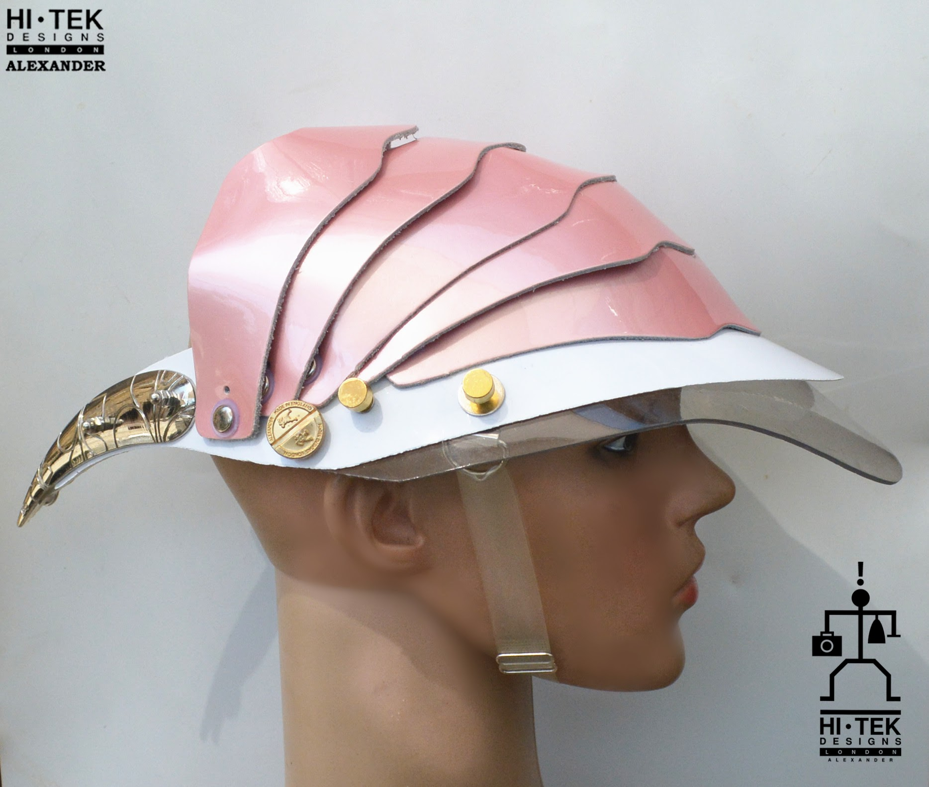 Unusual Head Wear futuristic, mask hat headpiece helmet modern Steampunk wearable art pink with horns