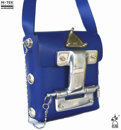 blue leather crossbody bag