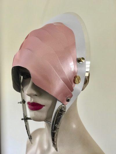 Unusual Head Wear futuristic, mask hat headpiece helmet modern Steampunk wearable art pink with horns