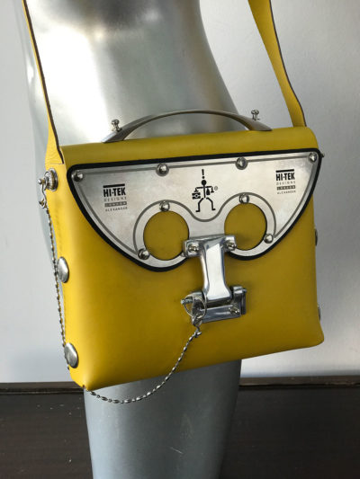 yellow leather cross body shoulder bag unusual statement futuristic medium size