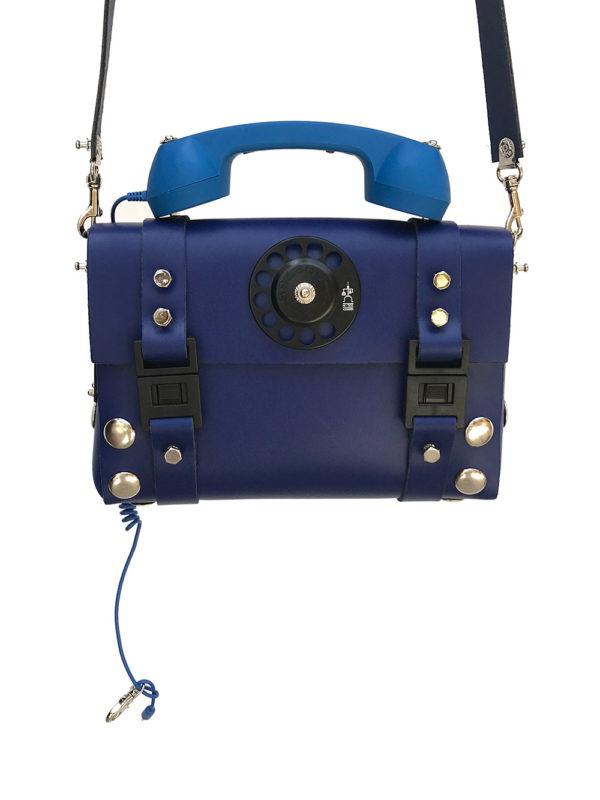 blue leather shoulder bag handbag with retro telephone receiver handle unusual unique