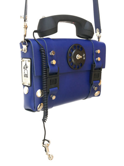 blue leather shoulder bag handbag with retro telephone receiver handle unusual unique