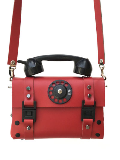 red leather shoulder bag handbag with vintage telephone handle unusual unique