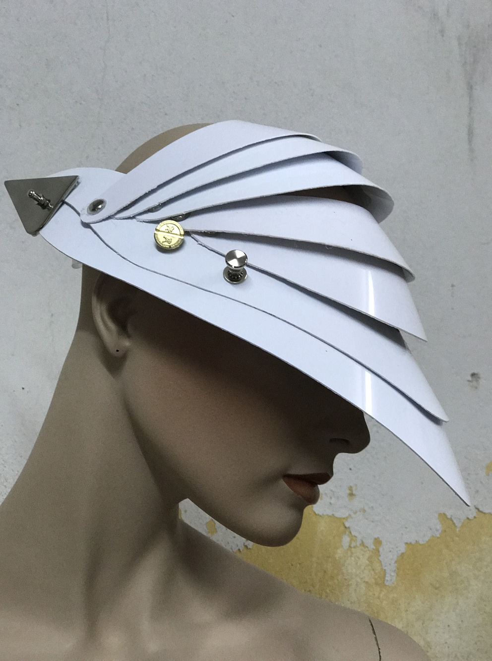 Unusual Head Wear futuristic, mask hat headpiece helmet modern Steampunk wearable art solid white