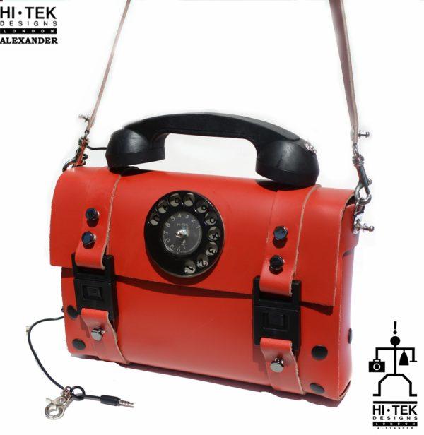 red leather shoulder bag handbag with retro telephone handle unusual unique