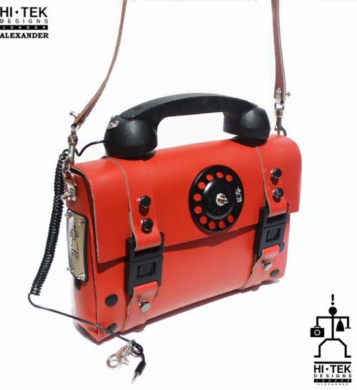 read leather Steampunk bag