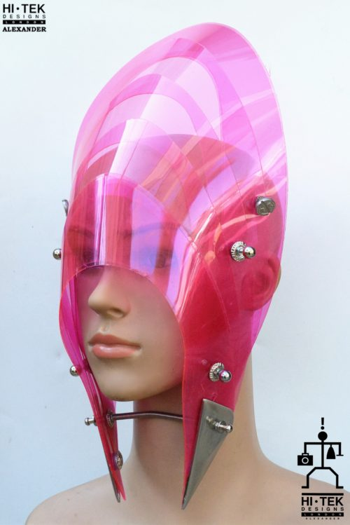 pink hat mask with horns