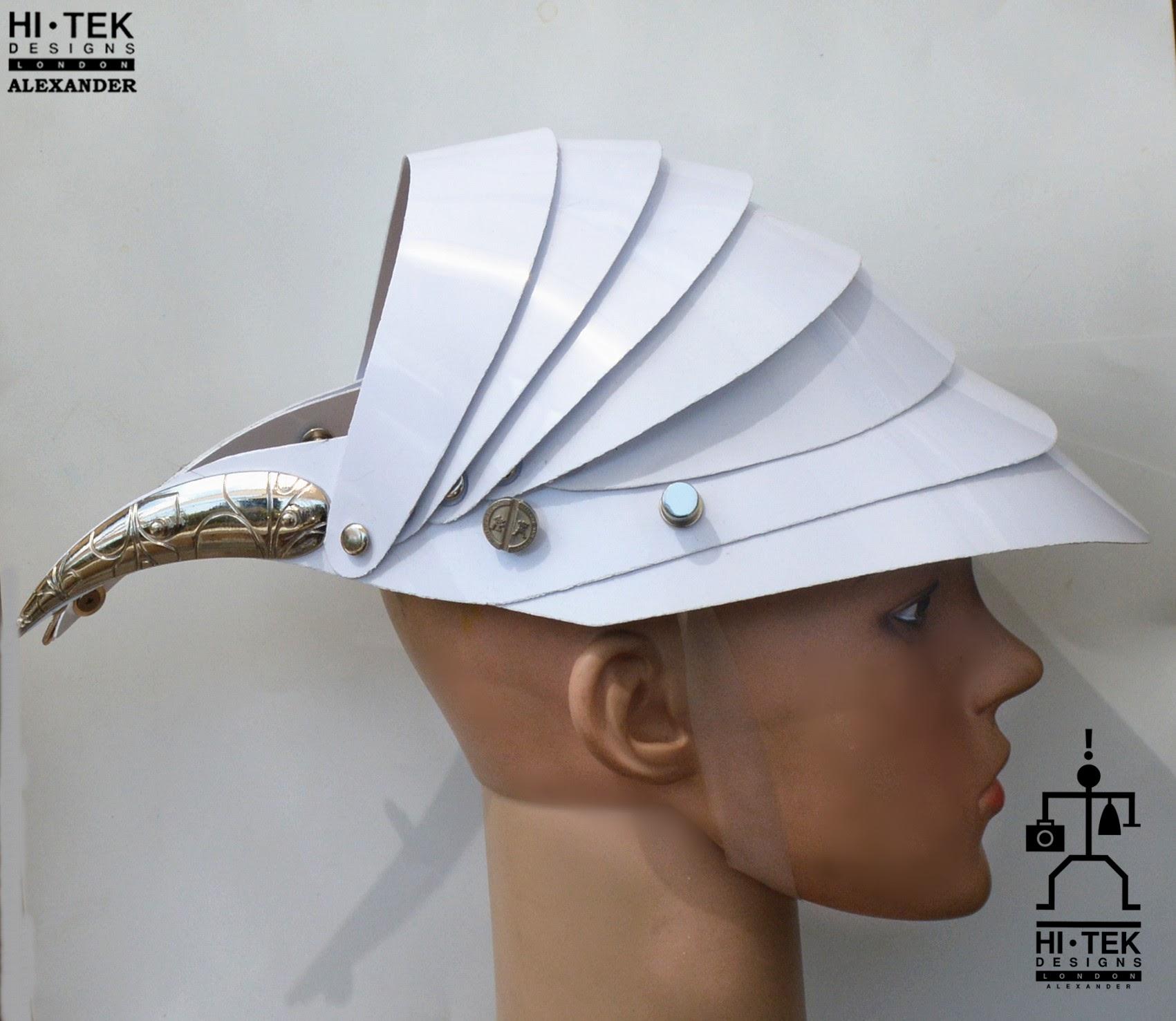 futuristic head wear in entertainment article, wearable art, all white1